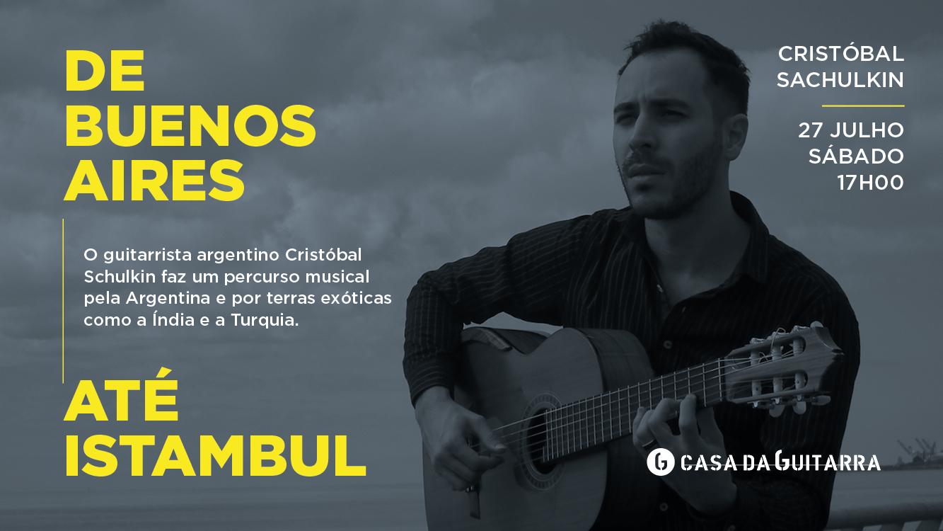 O guitarrista argentino Cristóbal Schulkin faz um percurso musical pela Argentina e por terras exóticas como a Índia e a Turquia. Uma viagem através de compositores argentinos modernos como Ástor Piazzolla, Quique Sinesi e de outros compositores destacados do mundo da guitarra, como Carlo Domeniconi.
